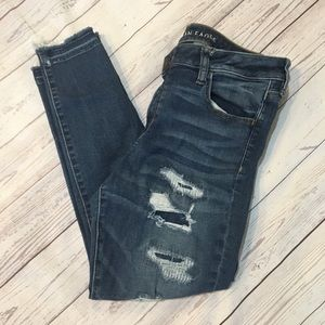 AMERICAN EAGLE Distressed Stretch Jegging Jeans